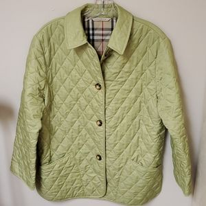 Burberry lime green quilted barn jacket S